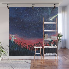 Make a Wish on a Shooting Star Illustration Wall Mural