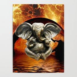 Elephant Ganesha and Earth Poster