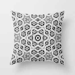 Silver Lace Pattern Throw Pillow