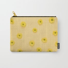 Yellow background with Daisies Carry-All Pouch