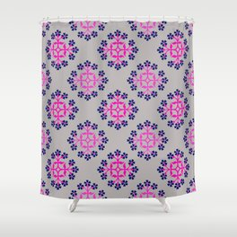 Grey, Pink and Navy Style 3 Repeating Tile Digital Design Shower Curtain