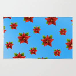 Red Flowers Pattern 2 Rug