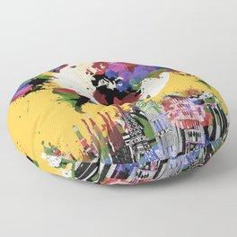 world map watercolor yellow Floor Pillow