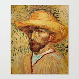 Van Gogh, Self-Portrait with Straw Hat, – Van Gogh,Vincent Van Gogh,impressionist,post-impressionism Canvas Print