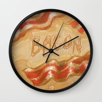 bacon Wall Clocks featuring Bacon by Kristin Frenzel