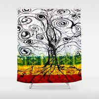 rasta Shower Curtains featuring Rasta Tree by mijumiART
