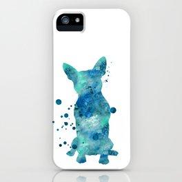Boston Terrier Dog Watercolor Painting Blue Turquoise Aqua Mint iPhone Case