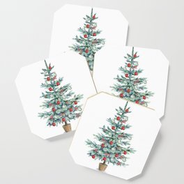 Christmas tree with red balls Coaster