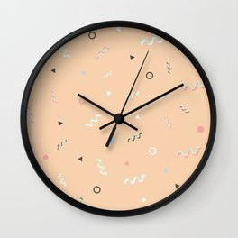 Messy Pattern_Peach Version Wall Clock