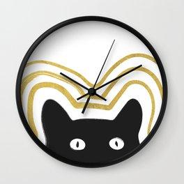 Golden Cat Vibes Wall Clock