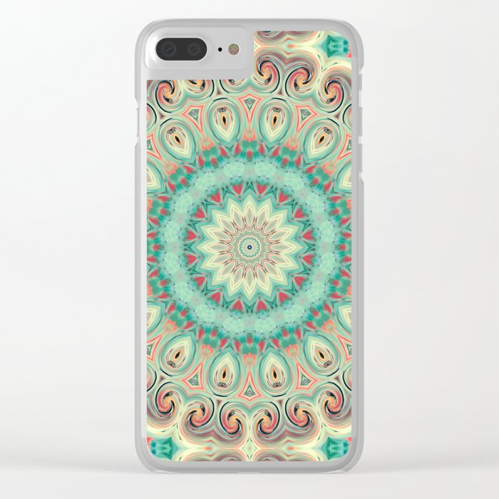 Kaleidoscope . Turquoise. Clear iPhone Case