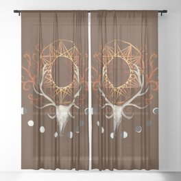 Season Of The Moons Autumn Fire Sheer Curtain