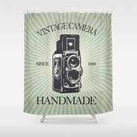 vintage camera Shower Curtains featuring Camera Vintage by Ale Ibanez
