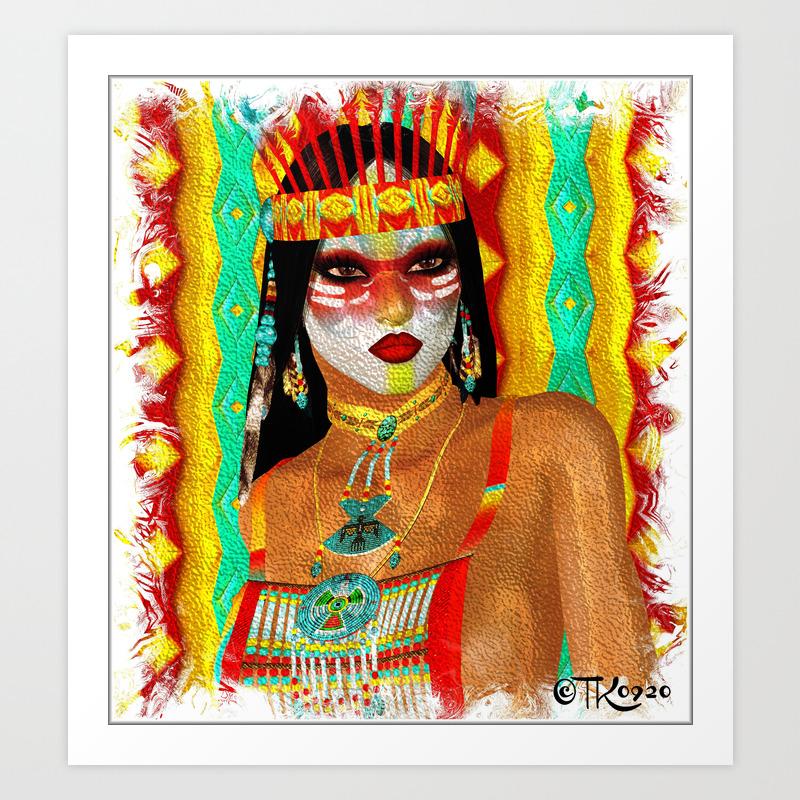 cultured colors native american beauty art print