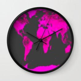 worLD MAP Fuchsia Pink & Gray Wall Clock