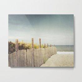 Beach Fence Photography, Blue Brown Coastal Photo, Seashore Dune Sand, Ocean Seaside Metal Print
