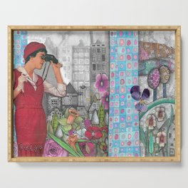 """llustration """"Woman with Binoculars"""" Serving Tray"""