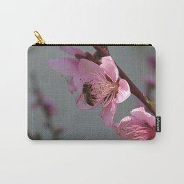 Honey Bee Feeding on Peach Tree Blossom Carry-All Pouch