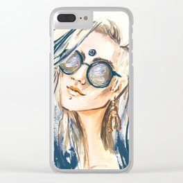 Blue girl Clear iPhone Case