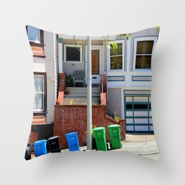 That Gray Plastic Chair - Garbage Day Throw Pillow
