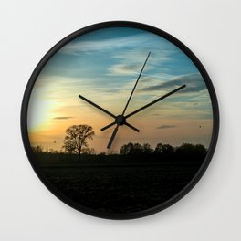 Beautiful scenic view of the sunset in the Ticino river natural park during fall Wall Clock