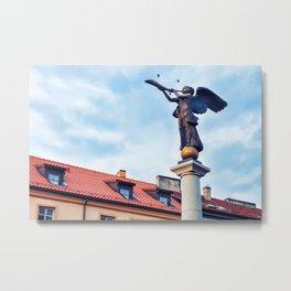 Angel statue in Uzupis district in Vilnius Metal Print