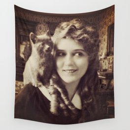 Mary Pickford - Vintage Lady with kitten Wall Tapestry