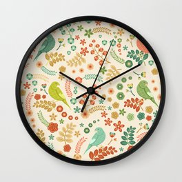 Vector Floral Pattern Wall Clock
