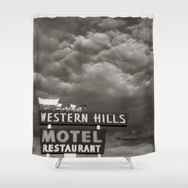 Western Hills- Black and White Shower Curtain