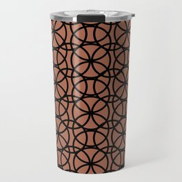 Circle Heaven on Sherwin Williams Cavern Clay SW7701, Overlapping Black Ring Design Travel Mug