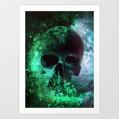 Male skull in cold tones Art Print