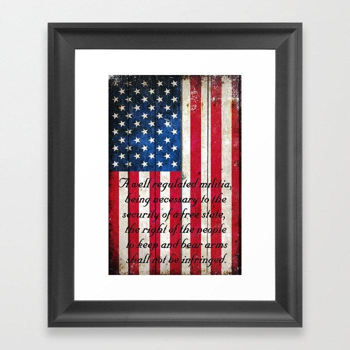 2nd amendment on american flag vertical print framed art print by