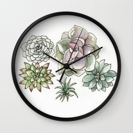 Succulents Watercolor Wall Clock