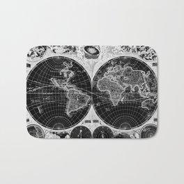 Black and White World Map (1665) Inverse Bath Mat