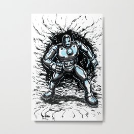 One Small Step for Iron Man Metal Print