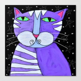 Cat in the Starlight Abstract Digital Painting Canvas Print