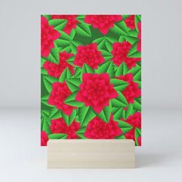 Dark Red Camellias and Green Leaves Mini Art Print