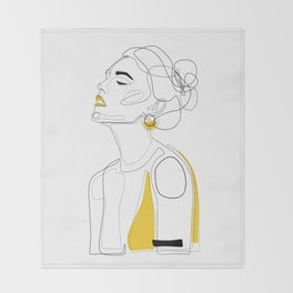 Yellow Lip Throw Blanket