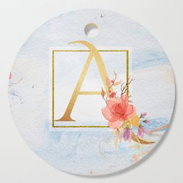 Letter A Gold Initial Floral Monogram Blue Marble Cutting Board