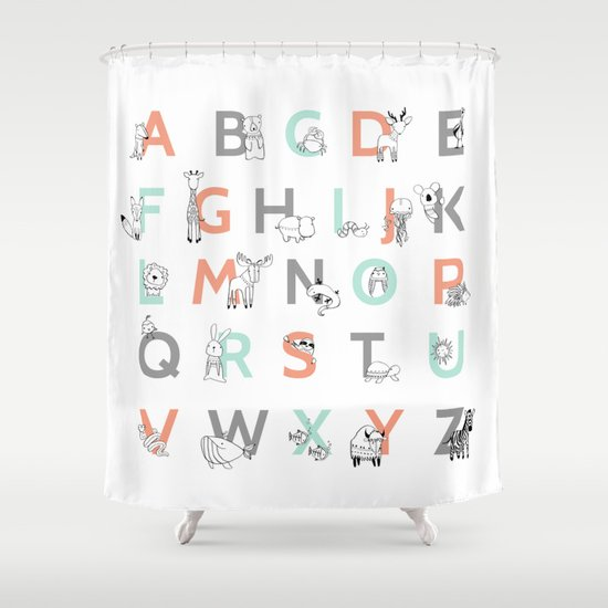 Animal Alphabet Shower Curtain By Amy Hamilton