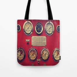 Old Gauges on a Fire Truck Tote Bag