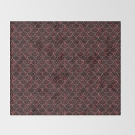 Red Blossom Mermaid Scales Throw Blanket
