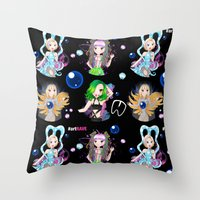 artrave Throw Pillows featuring #artRAVE Pattern by Aldo Monster