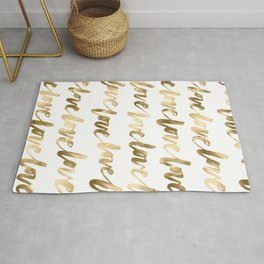 Gold Love Quote Pattern Typography Script 2 Rug