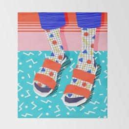 No Doi - memphis throwback retro classic style fashion 1980s 80s hipster shoes socks urban trendy Throw Blanket