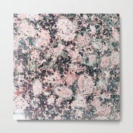Rustic vintage black pastel pink marble Metal Print