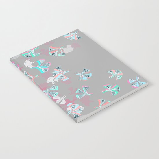 Flight - abstract in pink, grey, white & aqua Notebook
