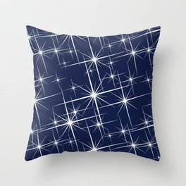 Indigo Navy Blue Starry Night Throw Pillow