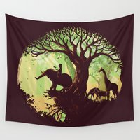 hello Wall Tapestries featuring The jungle says hello by Picomodi