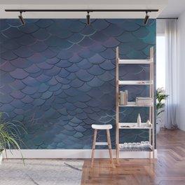 Blue Ecailles Wall Mural